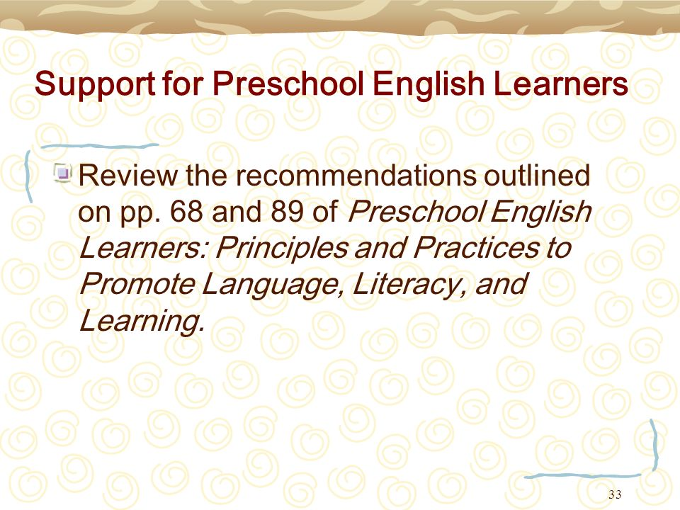 Support for Preschool English Learners