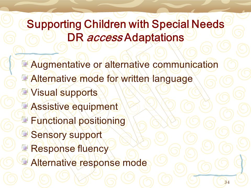 Supporting Children with Special Needs DR access Adaptations