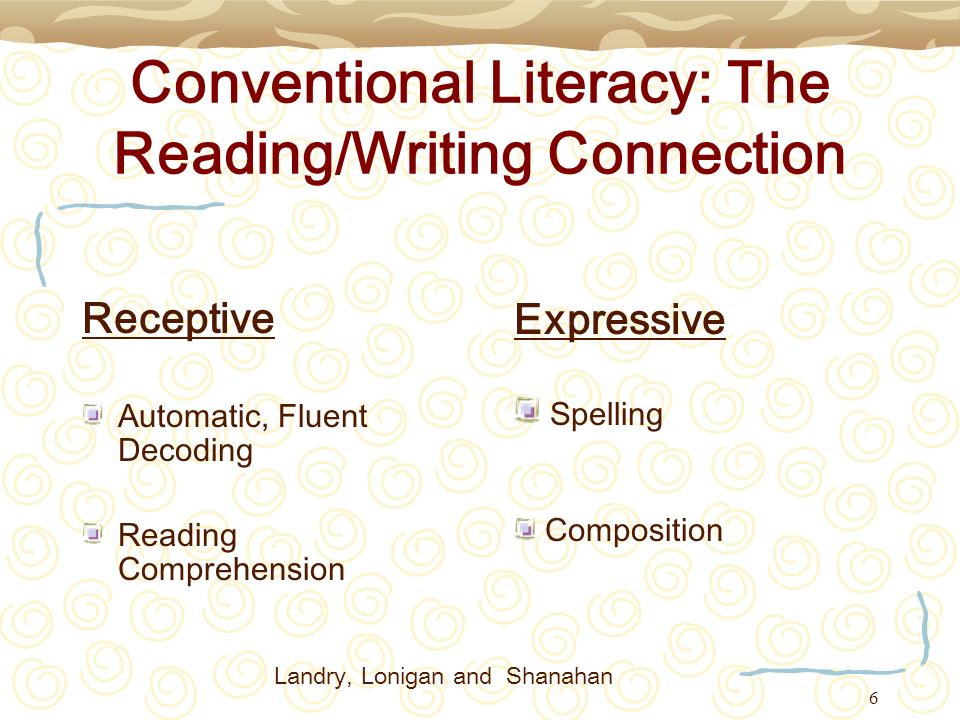 Conventional Literacy: The Reading/Writing Connection