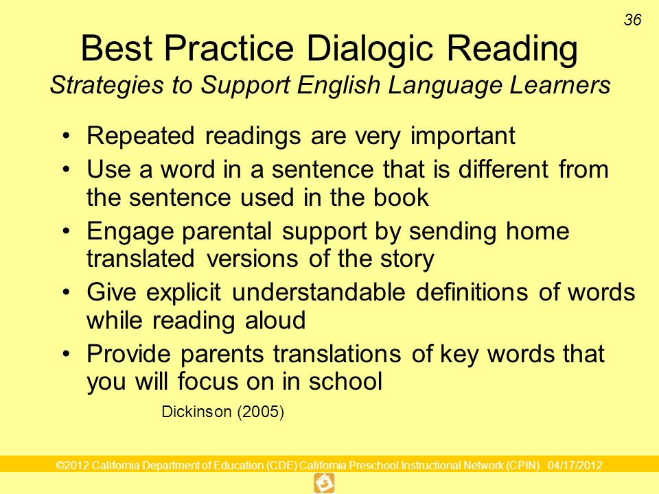 Best Practice Dialogic Reading Strategies to Support English Language Learners