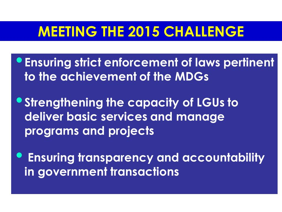 Philippine government policies on the 8mdgs