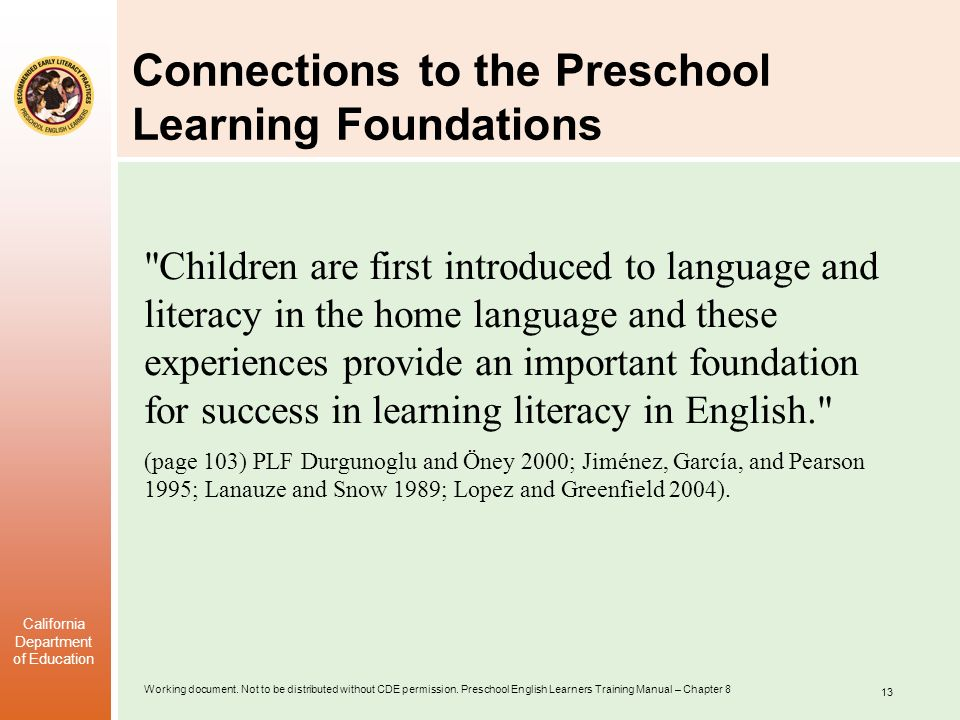 Connections to the Preschool Learning Foundations