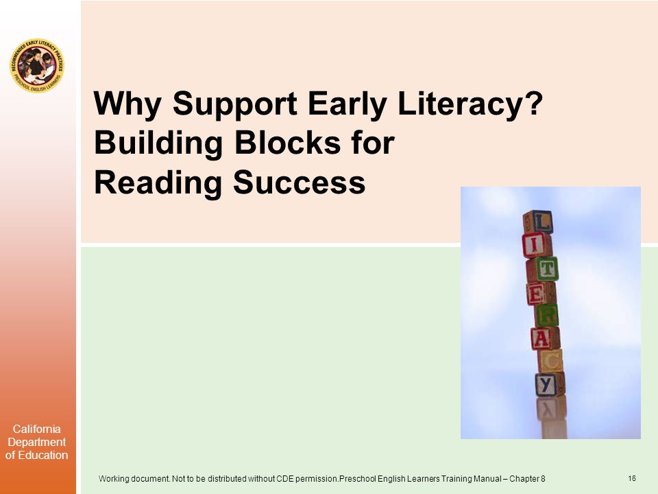 Why Support Early Literacy Building Blocks for Reading Success