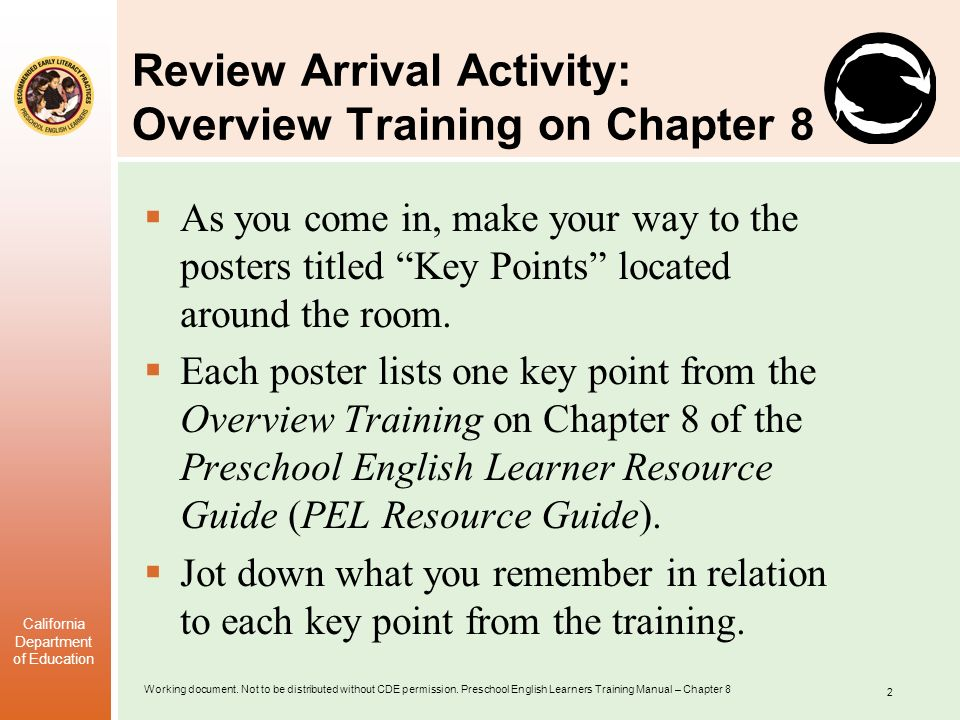 Review Arrival Activity: Overview Training on Chapter 8