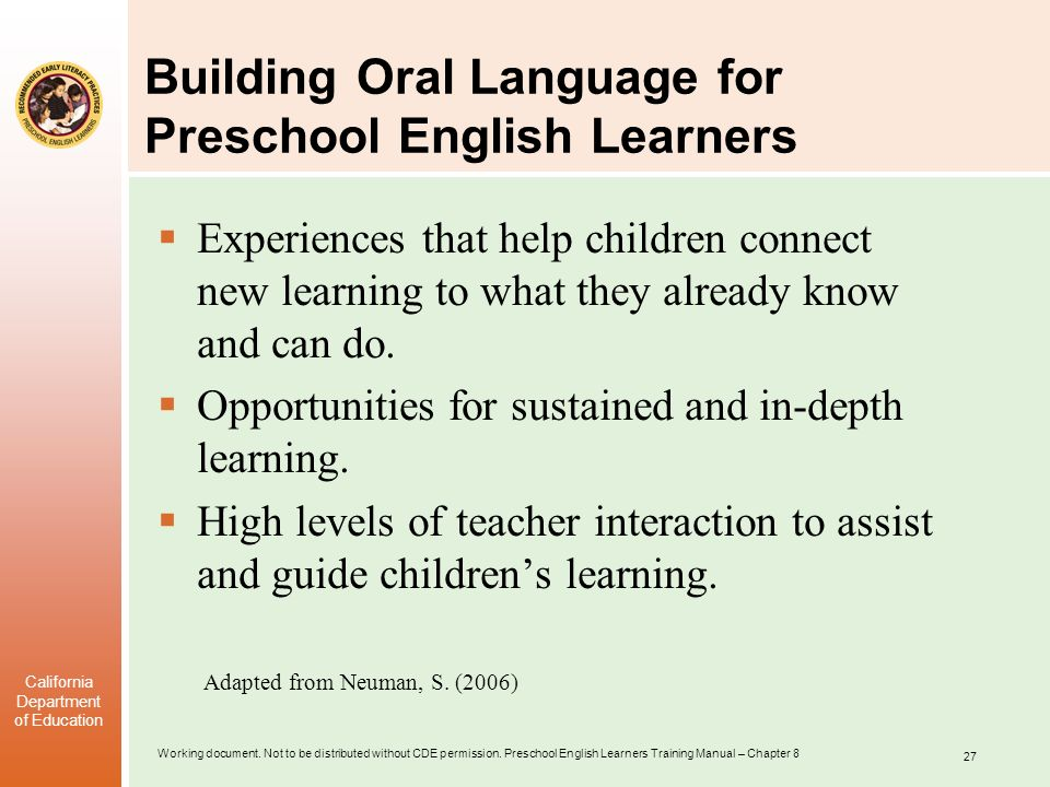 Building Oral Language for Preschool English Learners