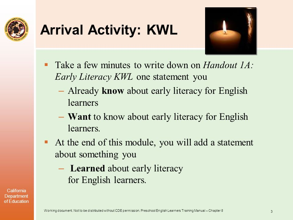 Arrival Activity: KWL Take a few minutes to write down on Handout 1A: Early Literacy KWL one statement you.