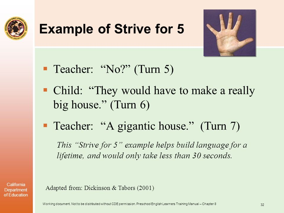 Example of Strive for 5 Teacher: No (Turn 5)