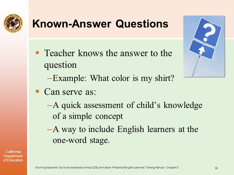Known-Answer Questions