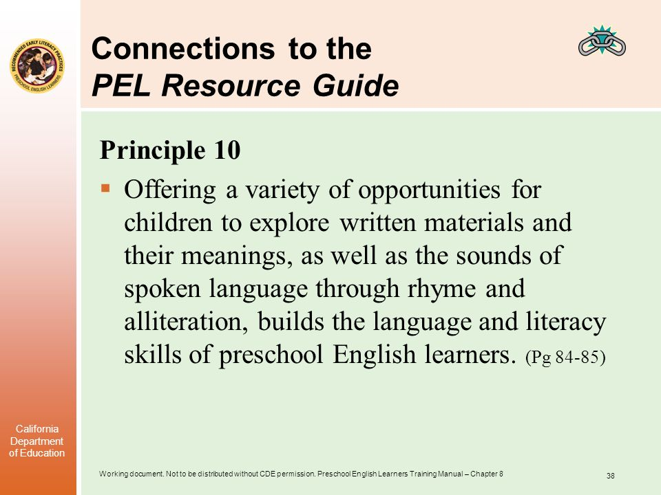 Connections to the PEL Resource Guide