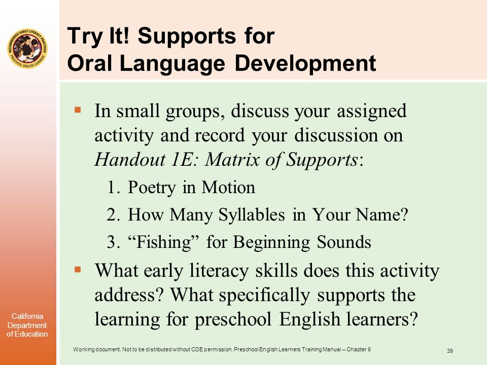 Try It! Supports for Oral Language Development