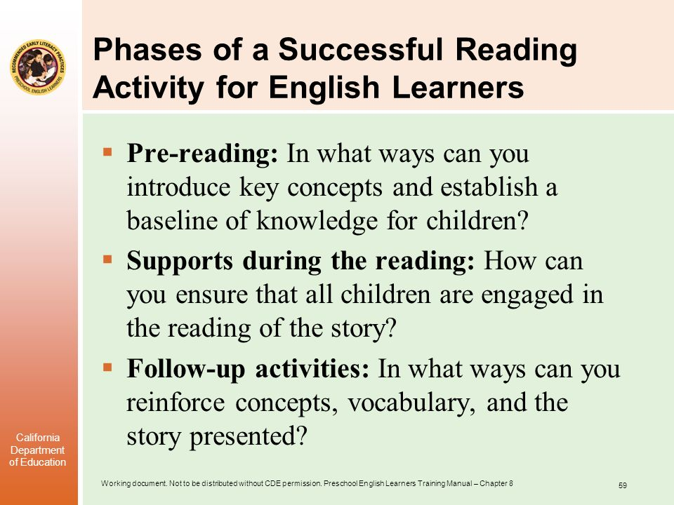 Phases of a Successful Reading Activity for English Learners
