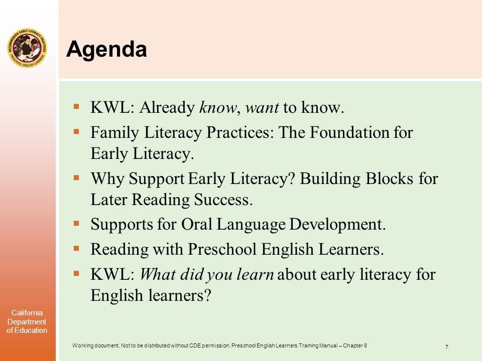 Agenda KWL: Already know, want to know.