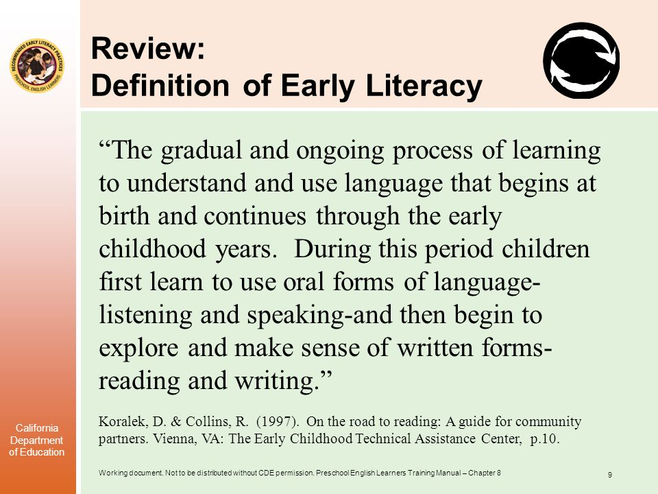 Review: Definition of Early Literacy