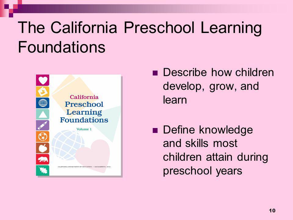 The California Preschool Learning Foundations