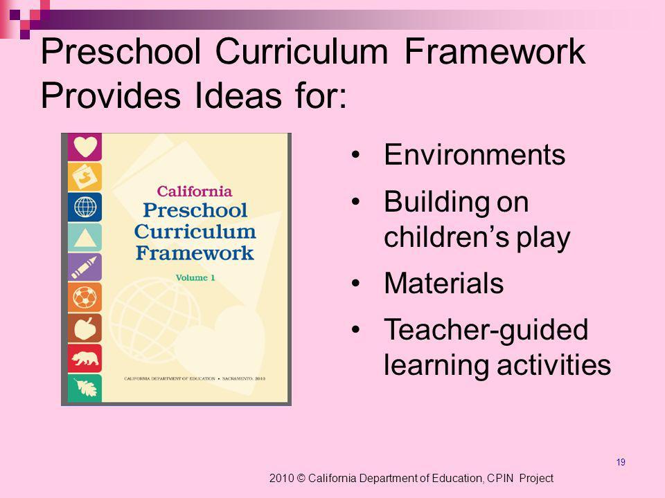 Preschool Curriculum Framework Provides Ideas for: