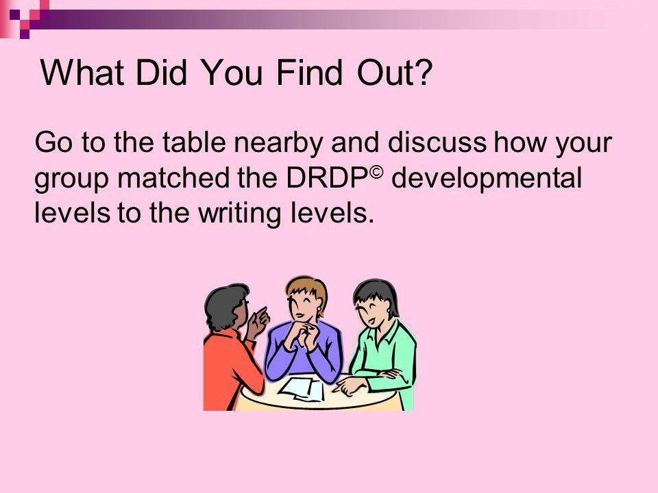 What Did You Find Out Go to the table nearby and discuss how your group matched the DRDP© developmental levels to the writing levels.