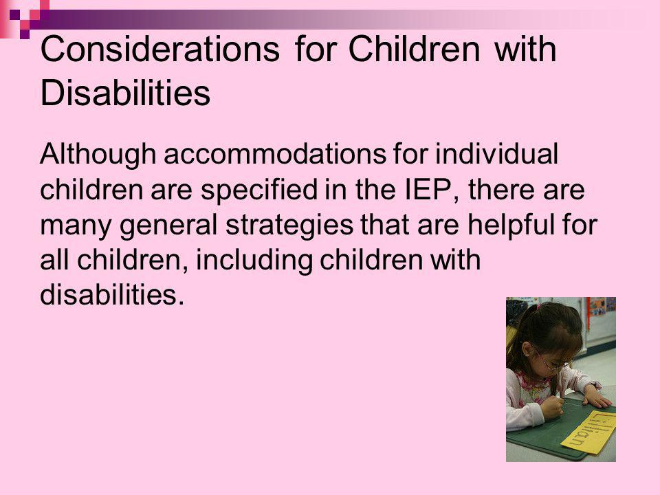 Considerations for Children with Disabilities