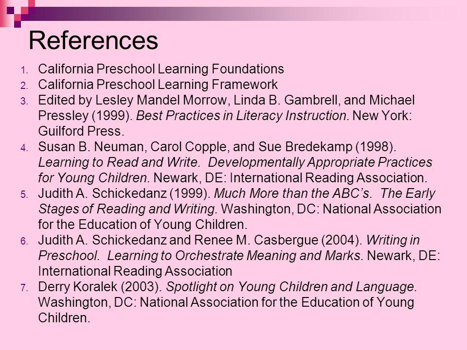 References California Preschool Learning Foundations