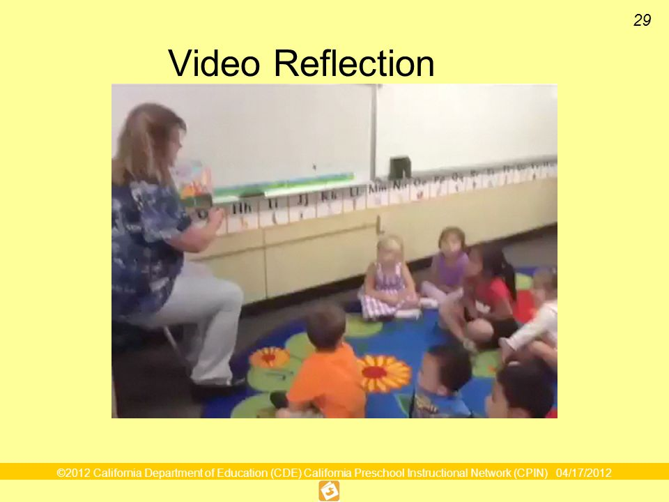 Video Reflection What Preschool to the Rescue video clip and discuss how the teacher must have planned for that activity.