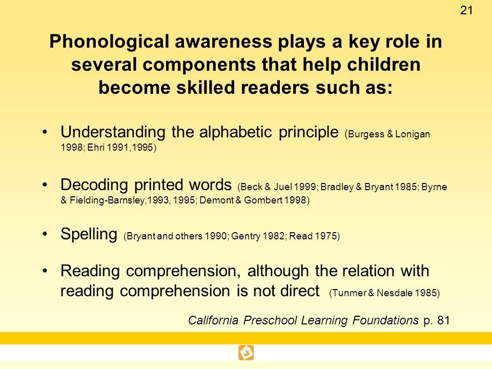 Phonological awareness plays a key role in several components that help children become skilled readers such as: