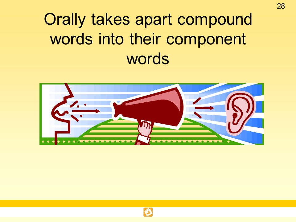 Orally takes apart compound words into their component words