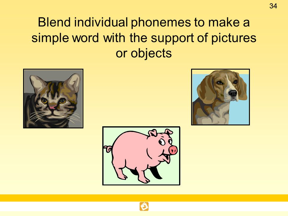 Blend individual phonemes to make a simple word with the support of pictures or objects
