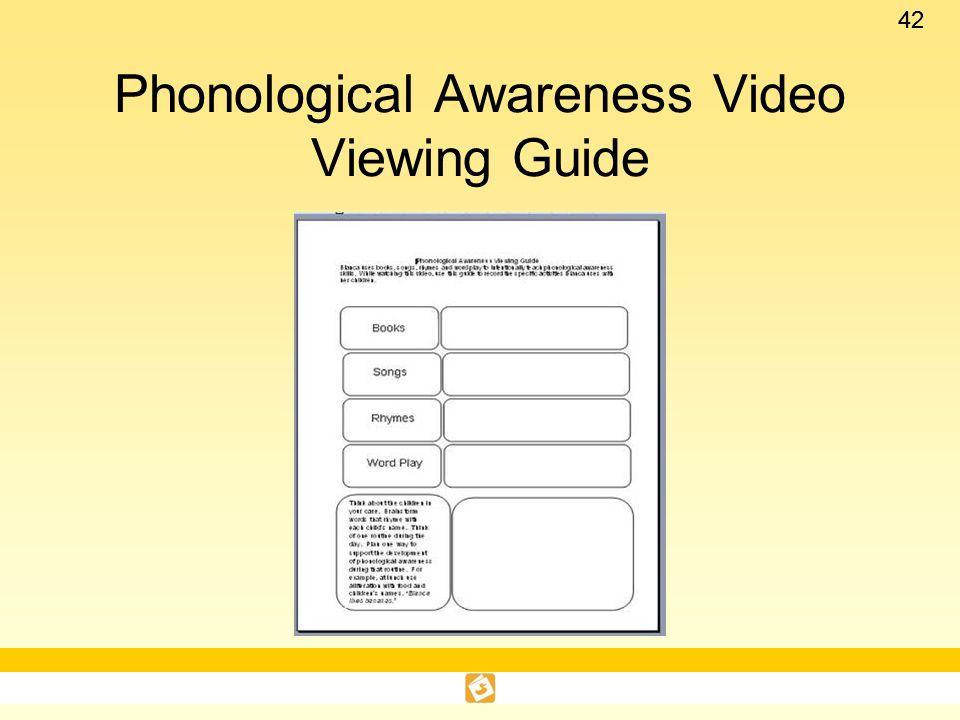 Phonological Awareness Video Viewing Guide
