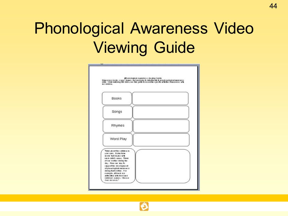 Phonological Awareness Video Viewing Guide