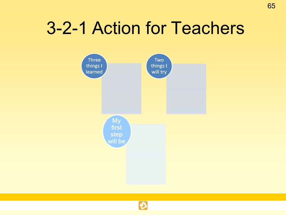 3-2-1 Action for Teachers My first step will be