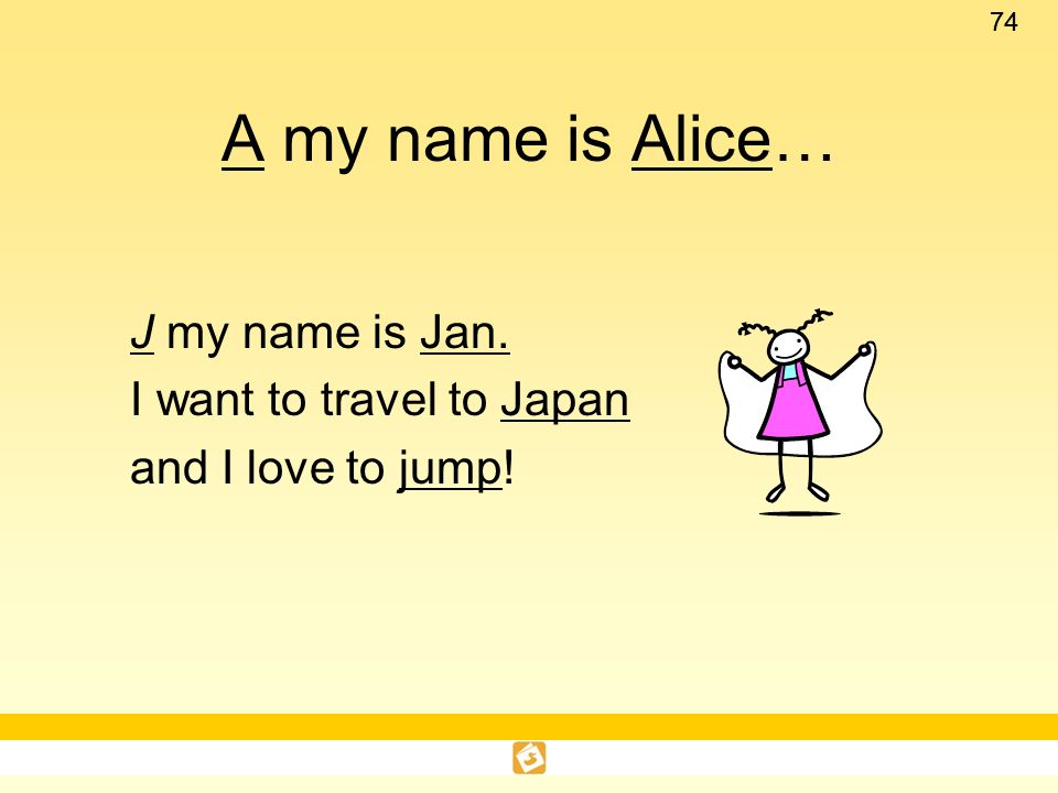 A my name is Alice… J my name is Jan. I want to travel to Japan