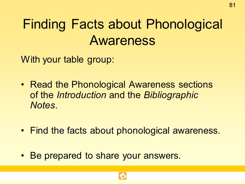 Finding Facts about Phonological Awareness