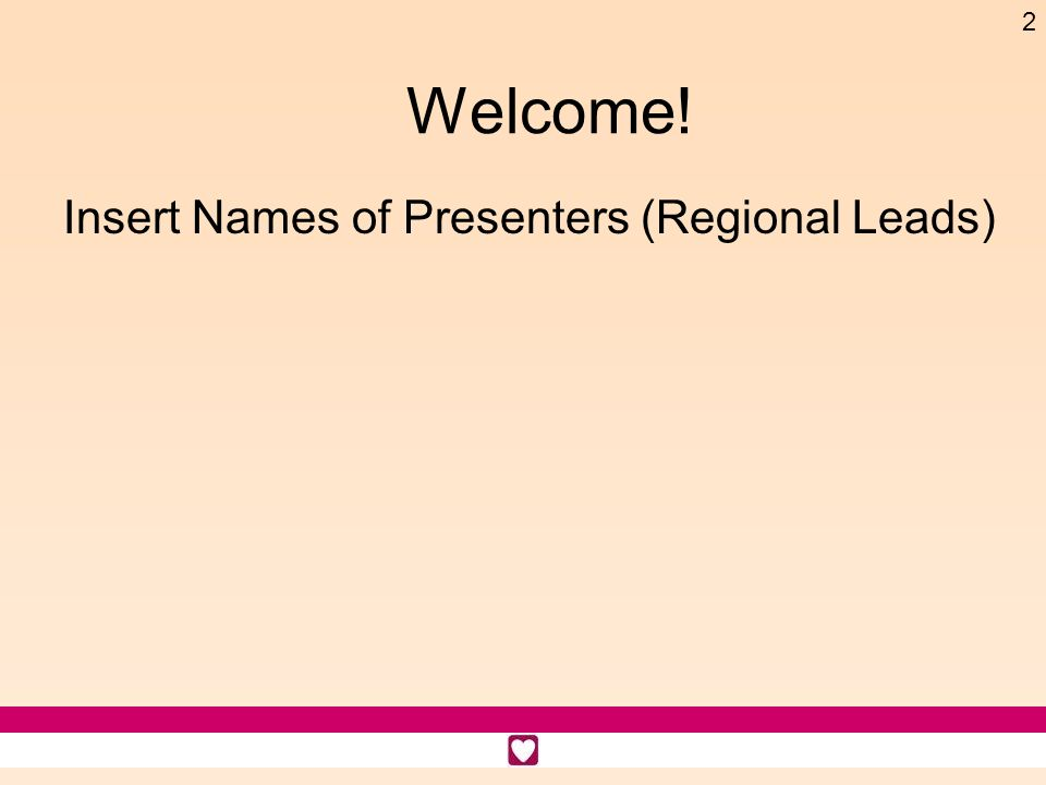 Welcome! Insert Names of Presenters (Regional Leads) Time: 1 minute