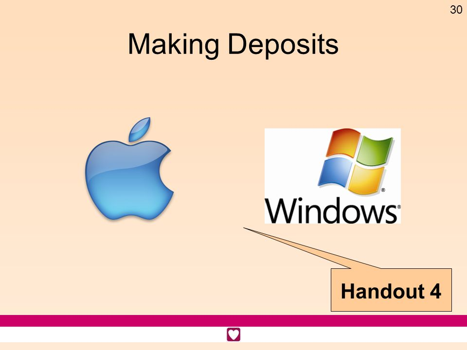 Making Deposits Handout 4 Time: 3 minutes