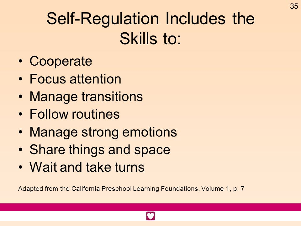 Self-Regulation Includes the Skills to: