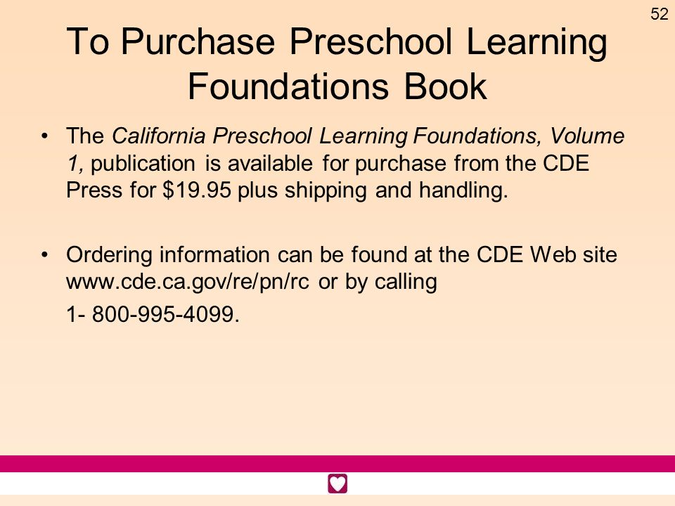 To Purchase Preschool Learning Foundations Book