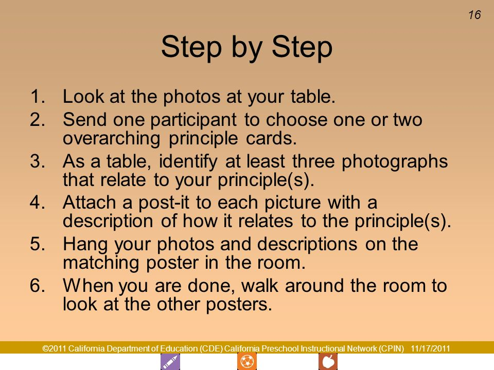 Step by Step Look at the photos at your table.