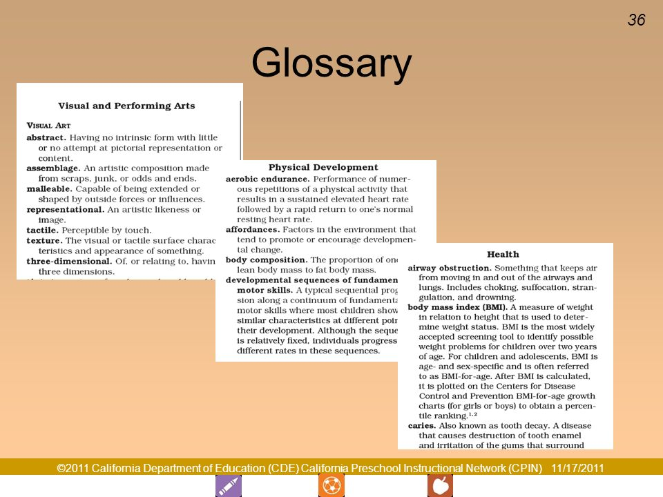Glossary Glossary p There is one section of the glossary for each domain. Locate the glossary for your domain.