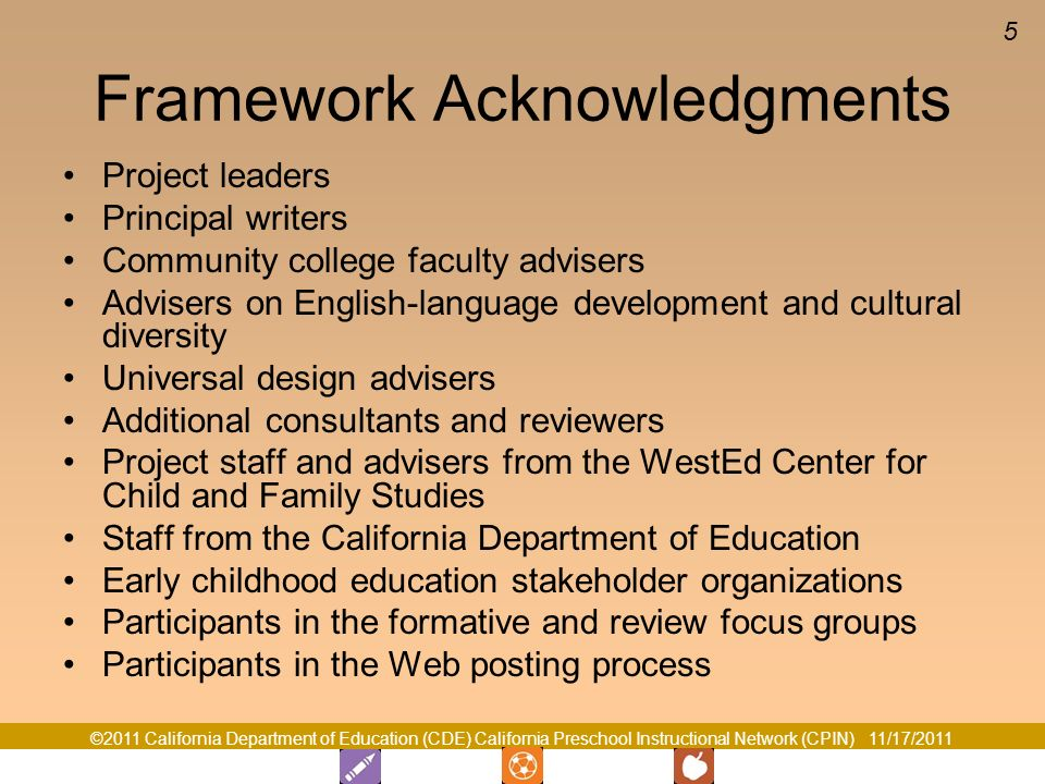 Framework Acknowledgments