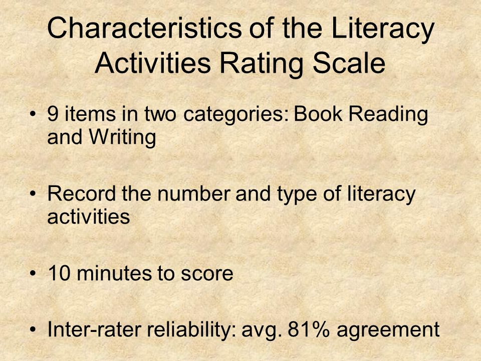 Characteristics of the Literacy Activities Rating Scale