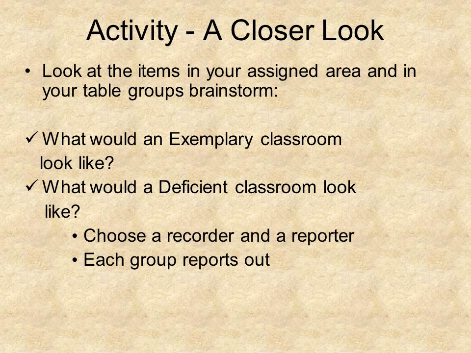 Activity - A Closer Look