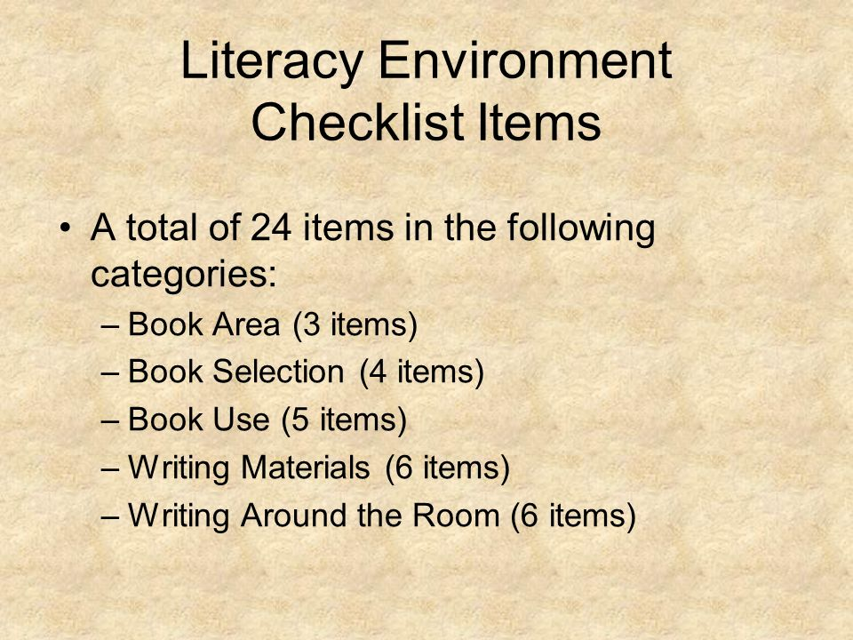 Literacy Environment Checklist Items