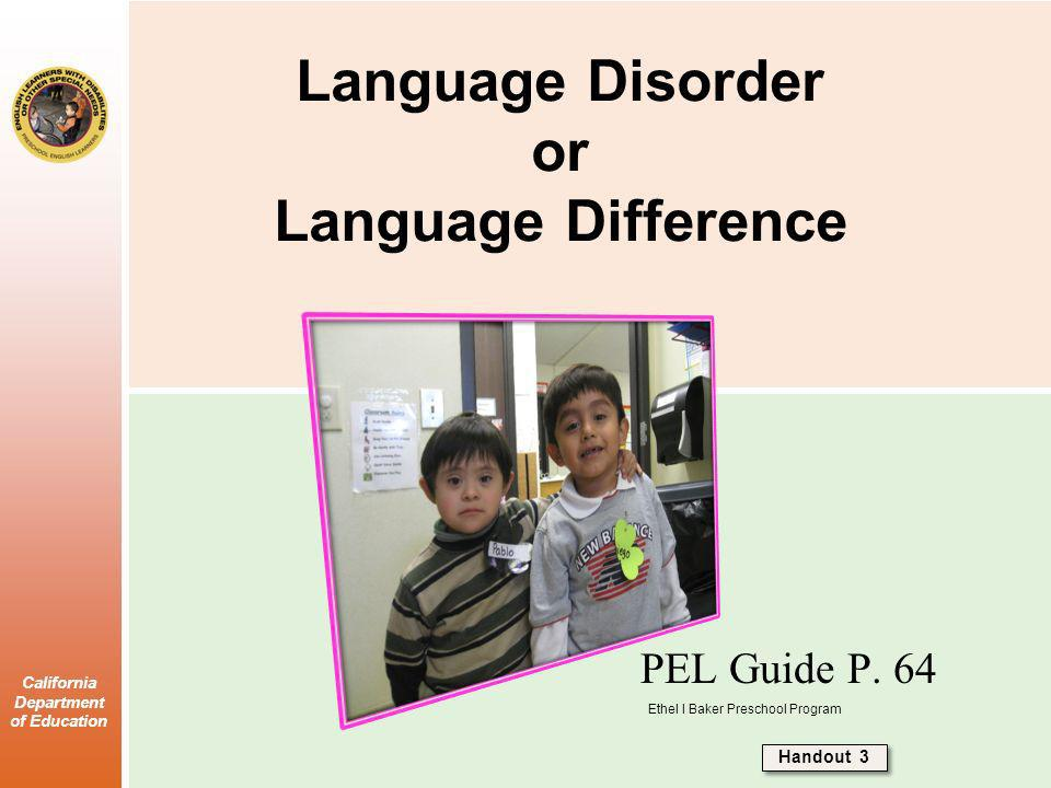 Language Disorder or Language Difference