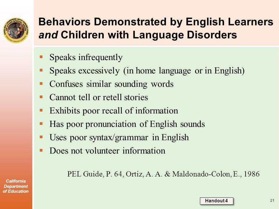 Behaviors Demonstrated by English Learners and Children with Language Disorders