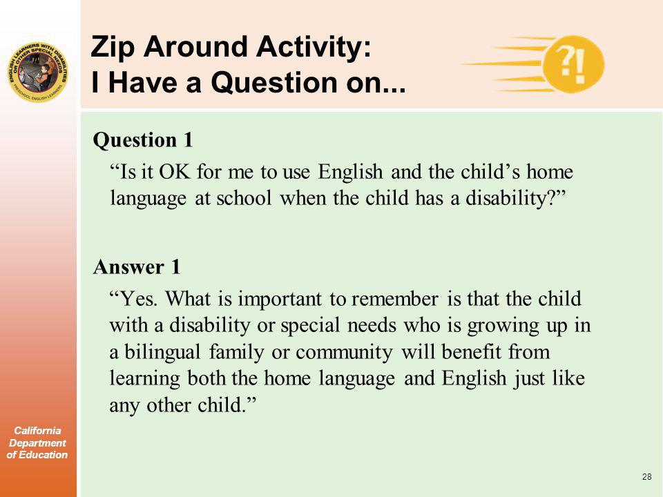 Zip Around Activity: I Have a Question on...