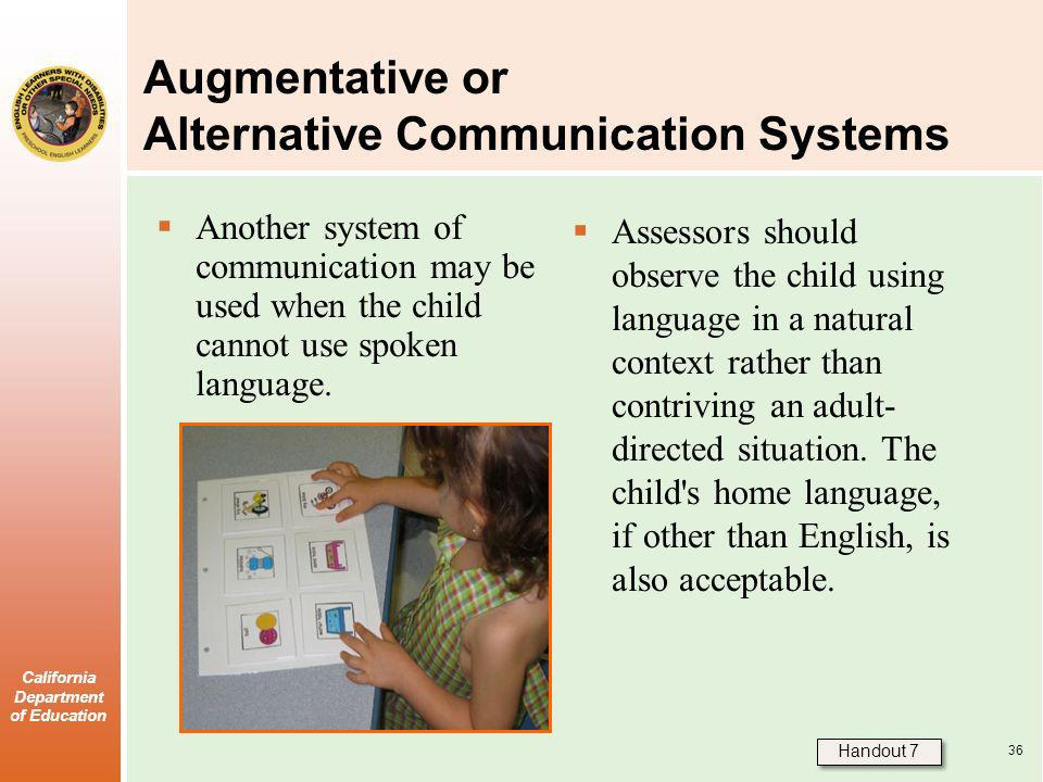 Augmentative or Alternative Communication Systems