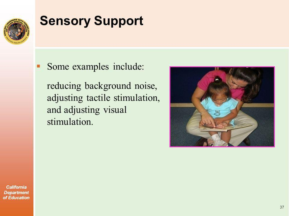 Sensory Support Some examples include:
