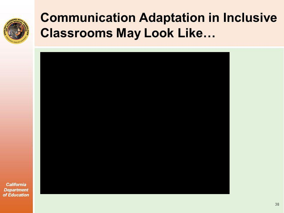 Communication Adaptation in Inclusive Classrooms May Look Like…