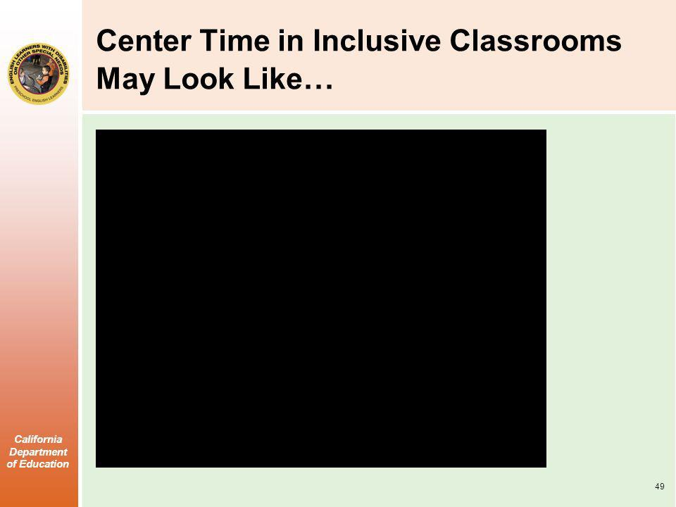 Center Time in Inclusive Classrooms May Look Like…