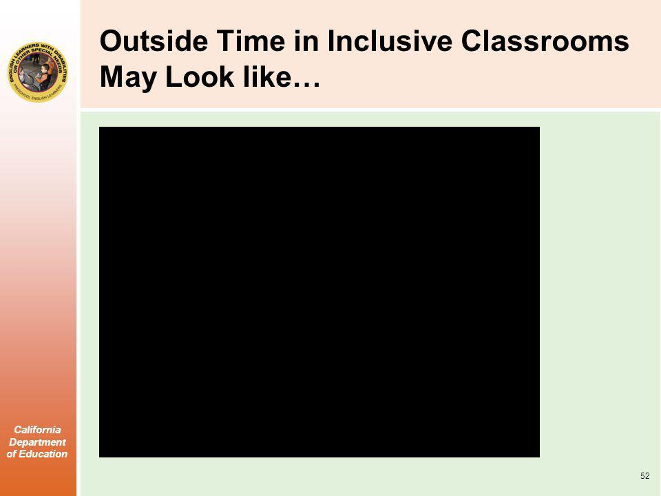 Outside Time in Inclusive Classrooms May Look like…