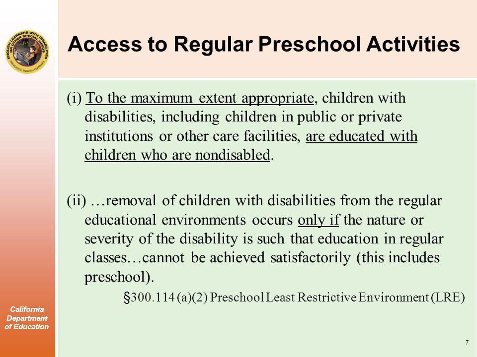 Access to Regular Preschool Activities